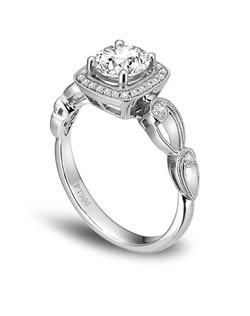 Simon G. platinum ring comprised of 0.15ctw round white diamonds.