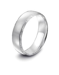 Tacori platinum wedding band featuring signature engraving and millgrain detail.