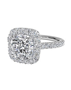 Cushion Cut French-Set Halo Diamond Band Engagement Ring in 18kt White Gold (0.45 CTW). Price excludes center stone.