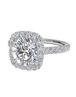 Vintage Round Cut French-Set Halo Diamond Band Engagement Ring in 18kt White Gold (0.45 CTW). Price excludes center stone.
