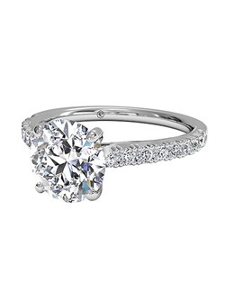 Round Cut French-Set Diamond Band Engagement Ring in 18kt White Gold (0.23 CTW). Price excludes center stone.