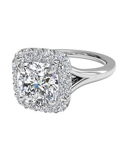 Cushion Cut French-Set Halo Diamond Engagement Ring in 18kt White Gold (0.20 CTW). Price excludes center stone.