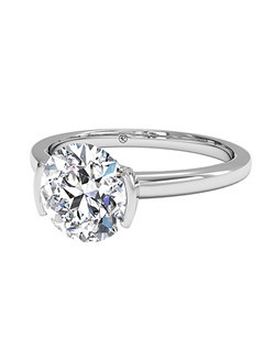 Round Cut Solitaire Semi-Bezel-Set Diamond Engagement Ring in Platinum. Price excludes center stone.