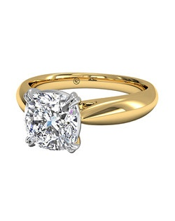 Cushion Cut Solitaire Diamond Tulip Cathedral Engagement Ring in 18kt Yellow Gold. Price excludes center stone.
