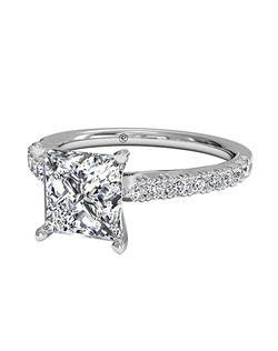 Princess Cut French-Set Diamond Band Engagement Ring in Platinum (0.23 CTW). Price excludes center stone.
