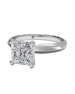 Princess Cut Solitaire Diamond Knife-Edge Engagement Ring in Platinum. Price excludes center stone.