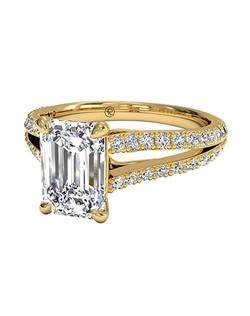 Emerald Cut Double French-Set Diamond 'V' Engagement Ring with Surprise Diamonds in 18kt Yellow Gold (0.24 CTW). Price excludes center stone.