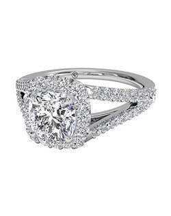 Cushion Cut Halo Diamond 'V' Band Engagement Ring in Platinum (0.50 CTW). Price excludes center stone.