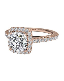 Cushion Cut French-Set Halo Diamond Band Engagement Ring in 18kt Rose Gold (0.21 CTW). Price excludes center stone.