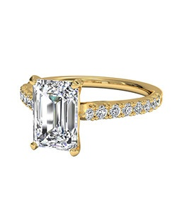 Emerald Cut French-Set Diamond Band Engagement Ring in 18kt Yellow Gold (0.23 CTW). Price excludes center stone.