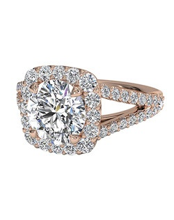 Round Cut Cushion Halo Diamond 'V' Band Engagement Ring in 18kt Rose Gold (0.50 CTW). Price excludes center stone.