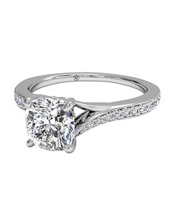 Cushion Cut Modern Bypass Micropavé Diamond Band Engagement Ring in 18kt White Gold (0.19 CTW). Price excludes center stone.