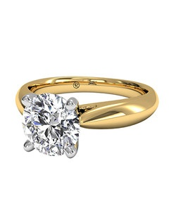 Round Cut Solitaire Diamond Cathedral Tapered Engagement Ring in 18kt Yellow Gold. Price excludes center stone.
