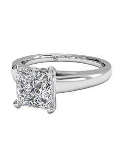 Princess Cut Solitaire Diamond Cathedral Engagement Ring in Platinum. Price excludes center stone.