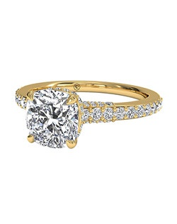 Cushion Cut French-Set Diamond Band Engagement Ring in 18kt Yellow Gold (0.45 CTW). Price excludes center stone.