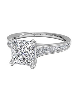 Princess Cut Micropavé Diamond Band Engagement Ring with Surprise Diamonds in Platinum (0.17 CTW). Price excludes center stone.