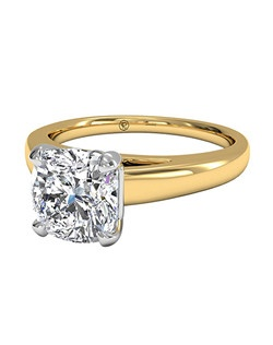 Cushion Cut Solitaire Diamond Cathedral Engagement Ring in 18kt Yellow Gold. Price excludes center stone.