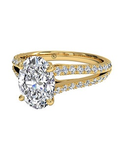 Oval Cut Double French-Set Diamond 'V' Engagement Ring with Surprise Diamonds in 18kt Yellow Gold (0.24 CTW). Price excludes center stone.