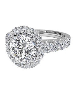 Masterwork Round Cut Halo Diamond Band Engagement Ring in 18kt White Gold (0.75 CTW). Price excludes center stone.