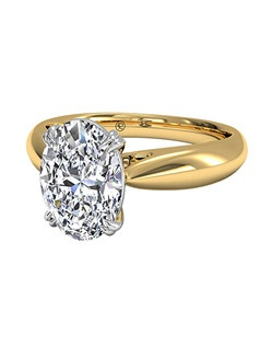Oval Cut Solitaire Diamond Tulip Cathedral Engagement Ring in 18kt Yellow Gold. Price excludes center stone.
