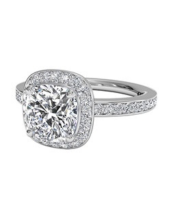 Cushion Cut Halo Micropavé Diamond Band Engagement Ring in Platinum (0.28 CTW). Price excludes center stone.
