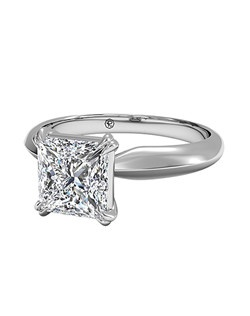 Princess Cut Solitaire Diamond Knife-Edge Tulip Engagement Ring in Platinum. Price excludes center stone.