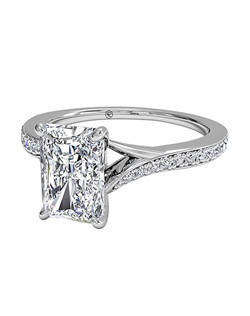 Radiant Cut Modern Bypass Micropavé Diamond Band Engagement Ring in Platinum (0.19 CTW). Price excludes center stone.