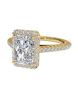 Radiant Cut French-Set Halo Diamond Band Engagement Ring in 18kt Yellow Gold (0.21 CTW). Price excludes center stone.