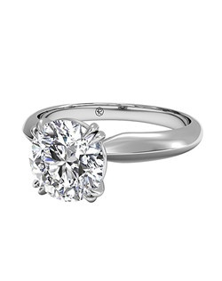 Round Cut Solitaire Diamond Knife-Edge Tulip Engagement Ring. Price excludes center stone.