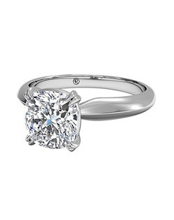 Cushion Cut Solitaire Diamond Knife-Edge Tulip Engagement Ring in Platinum. Price excludes center stone.