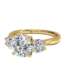 Round Cut Three-Stone Diamond Engagement Ring in 18kt Yellow Gold (0.50 CTW). Price excludes center stone.