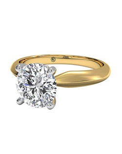 Round Cut Solitaire Diamond Knife-Edge Engagement Ring with Surprise Diamonds in 18kt Yellow Gold (0.04 CTW). Price excludes center stone.