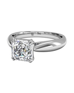 Asscher Cut Solitaire Diamond Tulip Cathedral Engagement Ring in Platinum. Price excludes center stone.