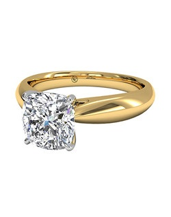 Cushion Cut Solitaire Diamond Tapered Engagement Ring with Surprise Diamonds in 18kt Yellow Gold (0.04 CTW). Price excludes center stone.