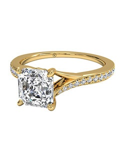 Asscher Cut Modern Bypass Micropavé Diamond Band Engagement Ring in 18kt Yellow Gold (0.19 CTW). Price excludes center stone.