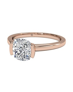Cushion Cut Solitaire Semi-Bezel-Set Diamond Engagement Ring in 18kt Rose Gold. Price excludes center stone.