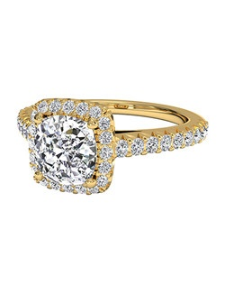 Cushion Cut French-Set Halo Diamond Band Engagement Ring in 18kt Yellow Gold (0.39 CTW). Price excludes center stone.