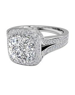Masterwork Cushion Cut Halo Diamond 'V' Band Engagement Ring in Platinum (0.45 CTW). Price excludes center stone.