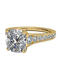 Cushion Cut Tapered Pavé Diamond Band Engagement Ring in 18kt Yellow Gold (0.48 CTW). Price excludes center stone.