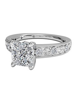 Princess Cut Grecian Leaf Diamond Band Engagement Ring with Surprise Diamonds in Platinum (0.14 CTW). Price excludes center stone.