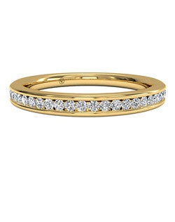 Women's Channel-Set Diamond Wedding Band in 18kt Yellow Gold (0.15 CTW). Price includes center stone and setting.