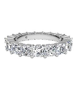 Women's Asscher-Cut Diamond Eternity Band in 18kt White Gold (4.25 CTW). Price includes center stone and setting.