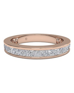 Women's Channel-Set Princess Diamond Eternity Band in 18kt Rose Gold (1.25 CTW). Price includes center stone and setting.