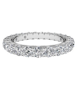 Women's Shared-Prong Diamond Wedding Band in Platinum (1.25 CTW). Price includes center stone and setting.
