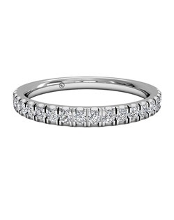 Women's French-Set Diamond Wedding Band in 18kt Yellow Gold (0.25 CTW). Price includes center stone and setting.