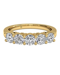 Women's Five-Stone Diamond Wedding Band in 18kt Yellow Gold (0.75 CTW). Price includes center stone and setting.