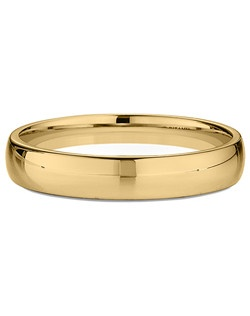 Men's Narrow Domed Comfort-Fit Wedding Ring in 18kt Yellow Gold. Price includes setting.