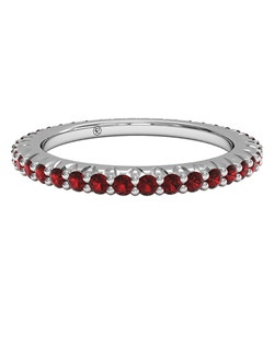Slim Ruby Stackable Band in Platinum. Price includes center stone and setting.
