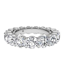 Women's Prong-Set Diamond Eternity Band in 18kt White Gold (3.78 CTW). Price includes center stone and setting.