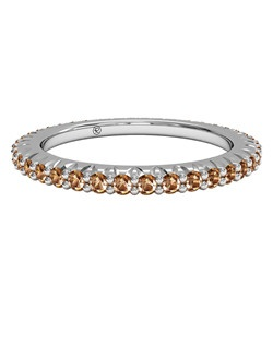 Slim Champagne Diamond Stackable Band in Palladium. Price includes center stone and setting.